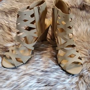Tan Cut-out Stylish Heel Bootie Shoes - 10